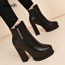 Gdgydh New Arrival 봄 암 화 (High) 저 (힐 버클 Black Round Toe 가 첼시 Boots Platform 힐 슈 2018 Promotion(China)