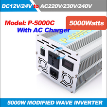 P-5000C 5KW/5000W Solar Power Inverter Modified Sine wave Inverter DC 12/24V to AC 220/230/240V,50/60HZ with AC Charger