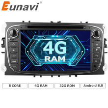 "Eunavi 2 Din 7""Android 8.0 Octa Core Car DVD Player DAB+WiFi 4G Canbus Online Maps GPS Navigator for Ford Focus II Mondeo S-Max(China)"