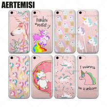 Aertemisi Phone Cases Unicorns Rainbow Maker Horns Diamonds Pops Sprinkles Clear TPU Case Cover for iPhone 5 5s SE 6 6s 7 Plus