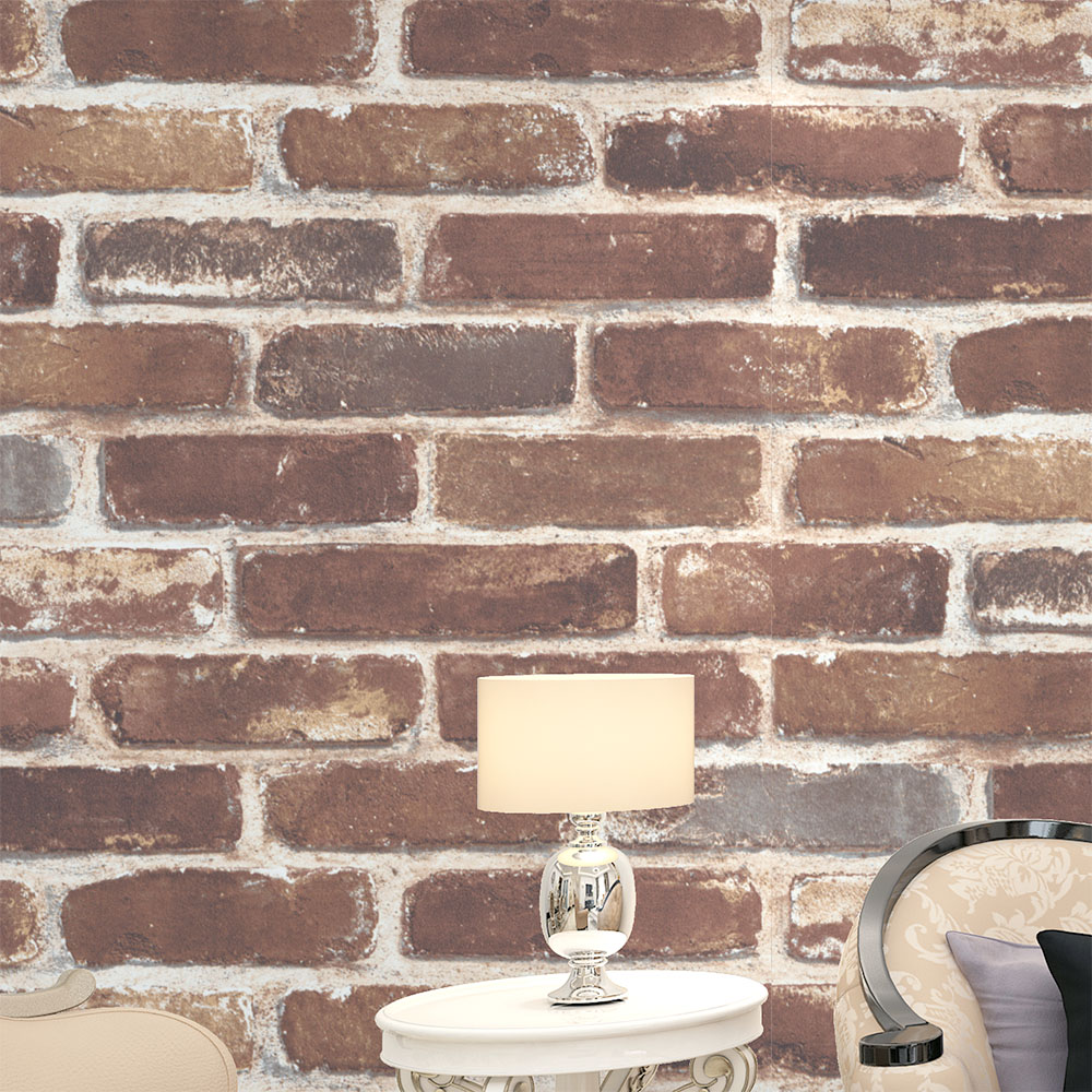 HaokHome Vintage Faux Brick Wallpaper Rolls Tan/Brown/Wheat Rust Brick Stacked Photo Paper Murals Home Kitchen Bathroom Wallpape<br>