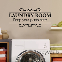 Laundry Room Quote Wall Sticker Drop Your Pants Here DIY Family Home Wall Quote Vinyl Wall Art Decal Laundry Room Lettering Q105(China)