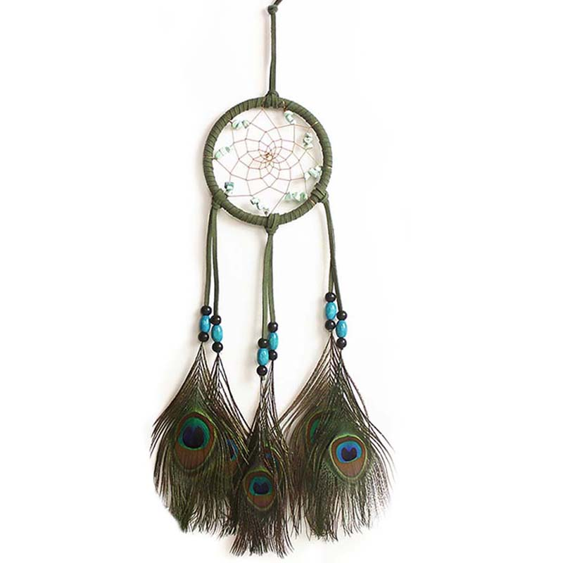 ASLT New fashion gift Hot Indian peacock Dreamcatcher Wind Chimes Indian Style Feather Pendant Dream Catcher Gift(China (Mainland))