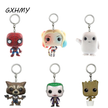 GXHMY Marvel Super Hero Harley Quinn Deadpool Harry Potter Goku Spiderman Joker Game of Thrones Action Figures Toy Keychain