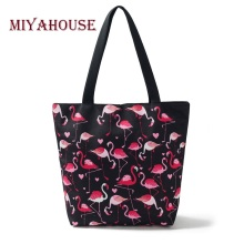 Miyahouse Flamingo Printed Shoulder Bag Women Large Capacity Canvas Casual Tote Female Shopping Bags High Quality Beach Bag Lady(China)