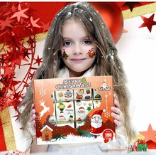 12pcs/box Kids Toy Cartoon Merry Christmas Tattoo Sticker Temporary Tattoos Snow Deer Tree Set tatuagem Gift for Child Kids Gift