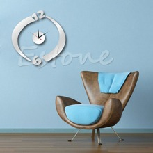 Modern DIY Mirror Style Removable Decal Vinyl Art Wall Clock Sticker Home Decor good quality