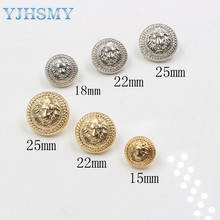 Free shipping 10pcs/Lot Dia 15/18/22/25mm,Gold&silver Color,Metal lion style Buttons, garment accessories DIY materials,LL-033(China)
