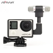 SOONSUN GoPro Professional Audio Recording External Stereo Microphone with Adapter + Stand Frame Housing for Gopro Hero 3 3+ 4(China)