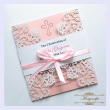 MR013 Two Side Lace Pattern Pearl Paper Laser Cut Invitation Card for Wedding