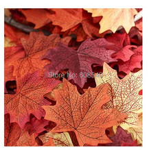 100Pcs Assorted Artificial Fall Colored Silk Maple Leaves -Table Scatters For Fall Weddings & Autumn Parties AE01492
