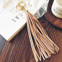 23cm PU leather Long Tassel Charm Key Chains Dark Khaki &Black Women Purse Accessories Handbag Ornamet Gift Keychain DIY