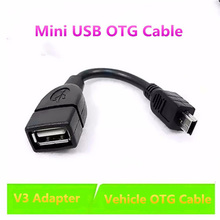 100% test send USB Female Mini B Male Cable Adapter 5P OTG V3 Port Data Car Audio Tablet MP3 MP4 - SIANCS Phone Accessories Store store