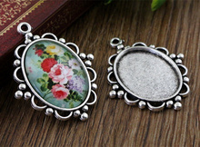 4pcs 18x25mm Inner Size Antique Silver Flowers Style Cameo Cabochon Base Setting Charms  Pendant necklace findings  (C2-01)