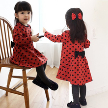 Spring-Autumn Long Sleeve Dot Girls' Dresses Kids Red Dress Black Dots Back With Bow Children Clothes Casual Vestidos