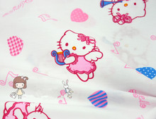 1 meter white bottom with pink cat cartoon pure cotton fabric, hello kitty notes of love design cotton bedding fabric CR-425