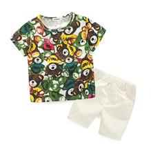 Hot selling style 2017 Summer Children sets baby clothes boys girls t shirts shorts pants clothes suit children sports