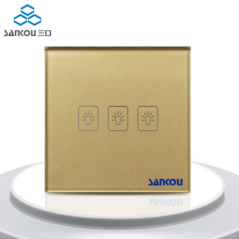 Free Shipping EU Touch Switch Golden Crystal Glass Panel 3Gang2Way Wall Light Switches AC220V/110V Smart Home<br>