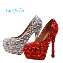 Fashion women's crystal rhinestone shoes platform shoes bride wedding shoes bridesmaid high heels pumps(China)