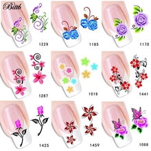 Bittb 1Pc Flowers DIY Nail Art Sticker Makeup Beauty Water Transfer Printing Fingernail Decals Foil Decoration Manicure Tools