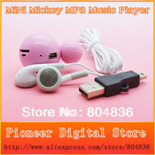 New Arrival Hot Sell 10pcs/lot Mini Mickey Mouse MP3 Music Player Support Micro SD/TF Card With Earphone&Mini Usb Free Shipping