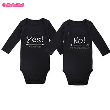 Cutbutomind yes no we are twinsSet of 2 Long Sleeve Baby Outfit Boy Jumpsuit for Twin Boys Girls NB-12Months Baby Twins Gift Set(China)