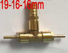 19mm to 16mm x 16mm Brass reducing Barb fitting coupling tee joint reduce nipple three way hose coupler different diameter