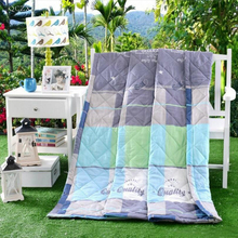 QCZX Air Conditioning Plaids Cotton summer blanket Soft Throw on Sofa/Bed/Plane Travel Air Conditioning Plaids Blanket D30(China)