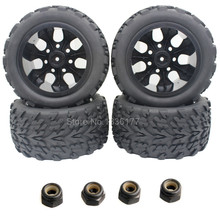 4pcs/Lot Rubber Truck Tires Sponge Inserts & Wheel Rims For RC 1/10 Scale Off Road HSP BRONTOSAURUS Redcat Volcano EPX 4WD Model(China)
