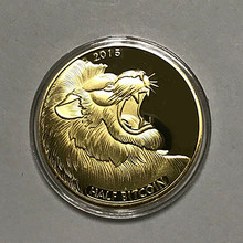 Buy 10 pcs 2015 animal lion half bitcoin two dimension code 24k gold plated America internet theme souvenir decoration coin for $28.00 in AliExpress store