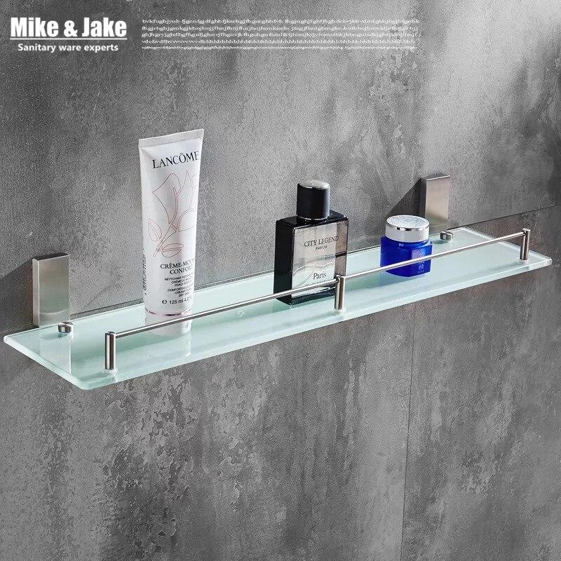 Steinless steel 304 brushed nickel Bathroom glass shelf holder cosmetic rack SUS nickel bathroom shelf <br><br>Aliexpress