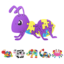 Kids Winding Animal Wooden Puzzle Children Early Educational Snail Elephant Dinosaur Crab Cow Ant Toy Jigsaw Puzzles