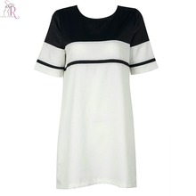 Women Mini Shift Dress Short Sleeve Contrast Color Black White Round Neck Loose Casual Streetwear 2017 Fashion