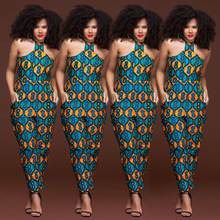 Buy Plus size sleeveless strappy Dashiki African Print jumpsuit women romper 2018 summer halter sexy shoulder long pant outfits