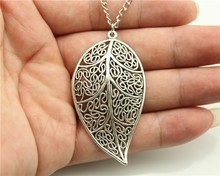 WYSIWYG 3 Colors Antique Gold, Antique Bronze, Antique Silver Color Big Leaf Pendant Necklace , 70Cm Chain Long Necklace(China)