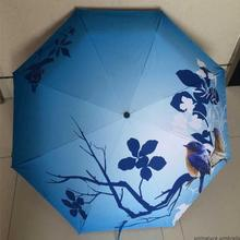 High quality bird leaves blue chinese painting sun rain art Umbrella 3 Fold Anti UV fashion Scenery impressionism free shipping