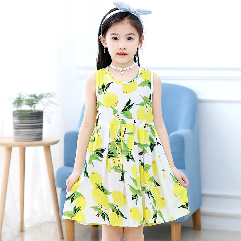 18 New Casual Dress Summer Style Sleeveless Cartoon printed pure cotton for Girls Dress 3-10 Years Children Clothing 6