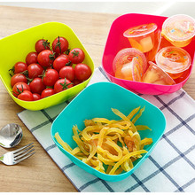 New Lovely Three-Piece Colorful Food-Grade Plastic Square Fruit Plate Salad Bowl Snack Candy Dish Nuts Bowl