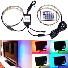 USB RGB LED Strip 5050 SMD Waterproof Flexible Backlight TV Kit 2X50cm Flat Screen LCD Desktop Computer LED TV Backlighting