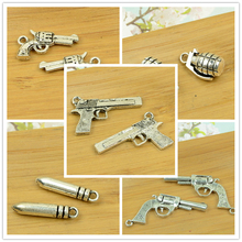 pistol/handgun/gun/shooter/bullet shape antique silver alloy vintage jewelry making accessories findings bracelet beads(China)