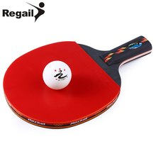 REGAIL Long Handle Shake-hand Grip Table Tennis Racket Ping Pong Paddle Pimples In rubber Ping Pong Racket + Racket Pouch(China)