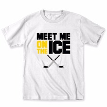 2017 Newest Print Novelty T Shirts Men's Brand Clothing Meet Me On The Ice Hockeyer Sticks Sportser Funny Humor Cool Custom Tees(China)