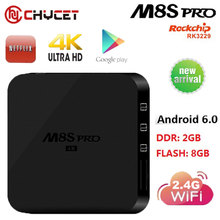 M8S pro Android 6.0 Smart TV Box Quad Core RK3229 UHD 4K H.265 WiFi RAM 2GB ROM 8GB Airplay iptv Media Player Set top box PK X96(China)