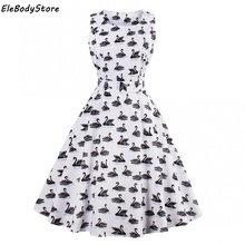 EleBodyStore Summer Dress 2017 Women Casual Vintage Vestido Swan Print Sleeveless Retro Party Dresses Midi Dress Hepburn Clothes