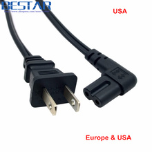 Europe & USA 2pin Male to 90 Degree Right Angled IEC 320 IEC320 C7 Power Supply Cord cable 1M 100cm 3ft