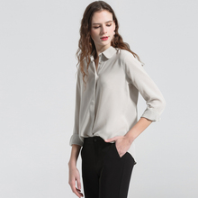100% Silk Blouse Women Shirt High Quality Lightweight Fabric Simple Style 2 Colors Formal Tops Basic Clothing New Fashion 2017