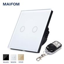 MAIFOM Remote Control Light Switch EU Standard 2 Gang 1 Way Crystal Glass Panel & LED Indicator Touch Control Wall Switch(China)