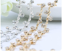 1Yard Glass Crystal Rhinestone Cup Chain With Claw For DIY Wedding Dress Decoration Trim Applique Sew on Garment Bags 2 Colors