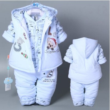 Hot 3 Pcs 2017 Baby Kids Fall Winter Clothing Set Newborn Thick Cotton-Padded Clothes Boys Girls Hooded Vest Coat Tops Pant G107<br>