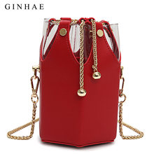 ac0aa3b12f6b Unique Transparent PVC Pu Leather Patchwork Women Bucket Bag Female Small Shoulder  Crossbody Bags Girls Personality Clutch